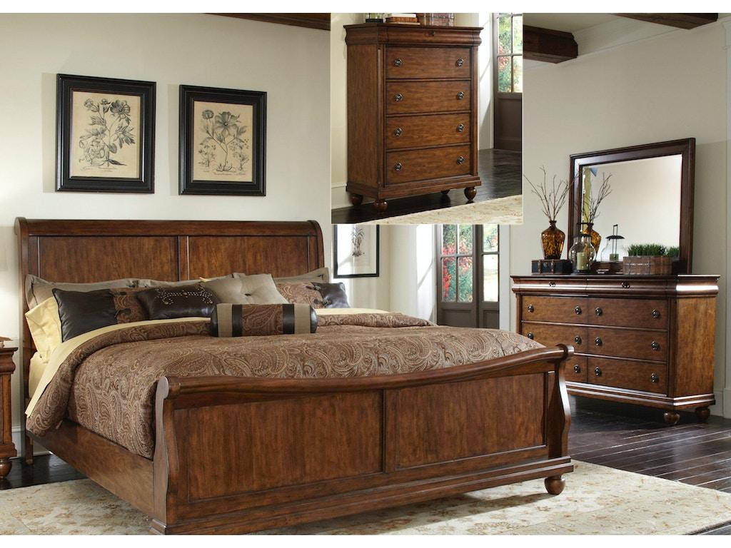 Liberty Furniture Bedroom King Sleigh Bed Dresser And Mirror Chest 589 Br Ksldmc Seaside
