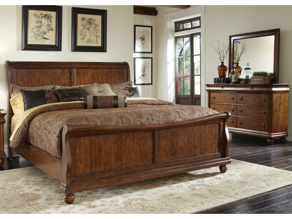 Liberty Furniture Bedroom Queen Sleigh Bed Dresser And Mirror 589 Br Qsldm Davis Furniture