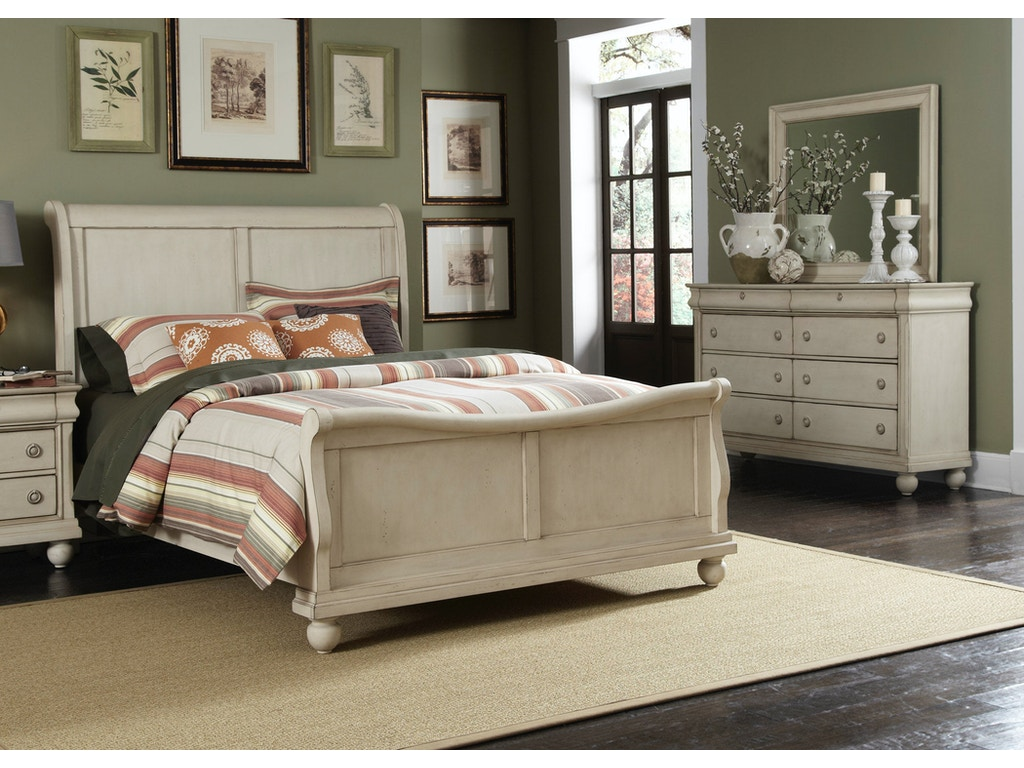 Liberty furniture bedroom king sleigh bed dresser and for Q furniture and mattress beaumont tx