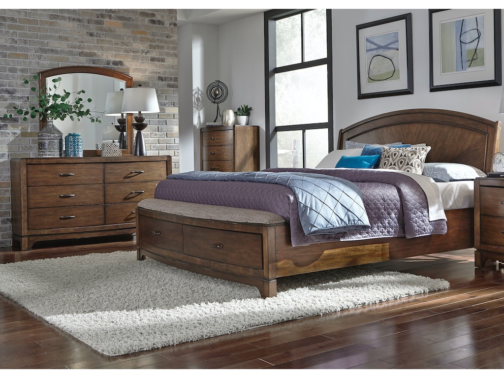 Liberty Furniture Bedroom Queen Panel Storage Bed Dresser And Mirror Chest 705 Br Qpbsdmc