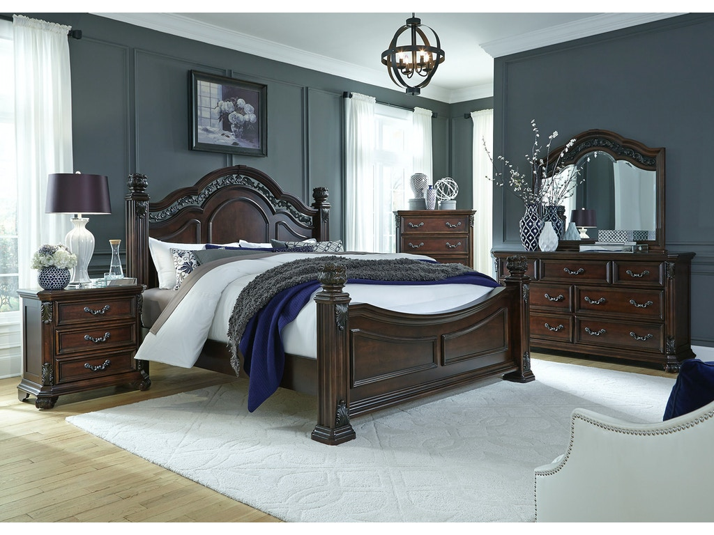 Liberty Furniture Bedroom King Poster Bed Dresser And Mirror Chest Ns 737 Br Kpsdmcn The