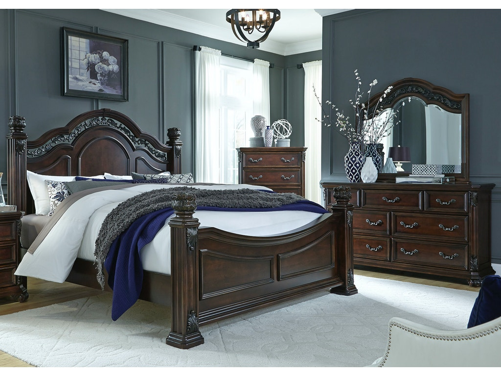 liberty furniture bedroom queen poster bed dresser and mirror chest 737 br qpsdmc davis. Black Bedroom Furniture Sets. Home Design Ideas
