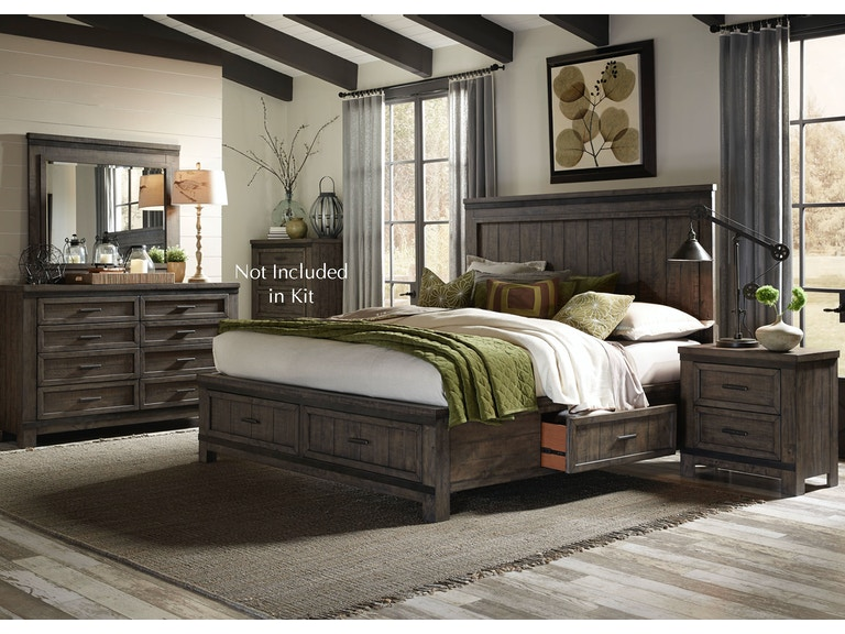 Liberty Furniture Bedroom King Two Sided Storage Bed, Dresser and ...