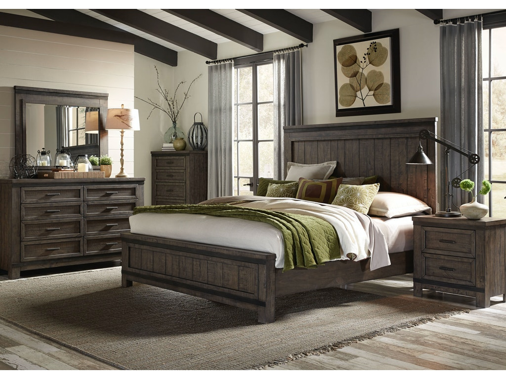 Liberty furniture bedroom king panel bed dresser and for Q furniture and mattress beaumont tx