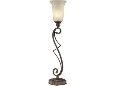 Lite Source Table Lamp-Rusted Wrought Iron/Fro.cld.glass Shade C41207