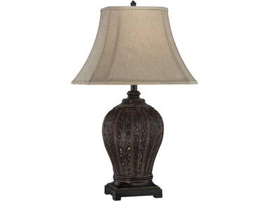 Lite Source Table Lamp-Antique Bronze/Jacquard Fabric Shade C41226