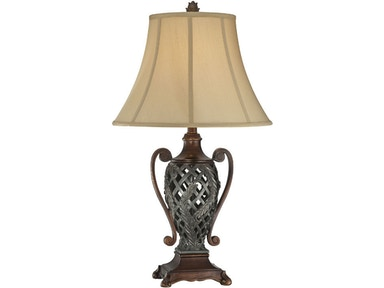 Lite Source Table Lamp - Two Tone/Tan Fabric Shade C41255