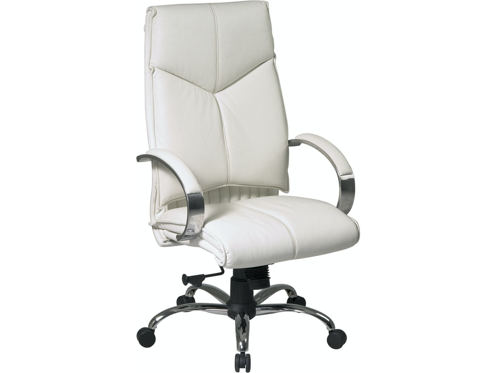 Deluxe high back white executive leather