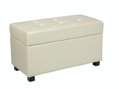 Office Star Products Cream Faux Leather Storage Ottoman MET804CM
