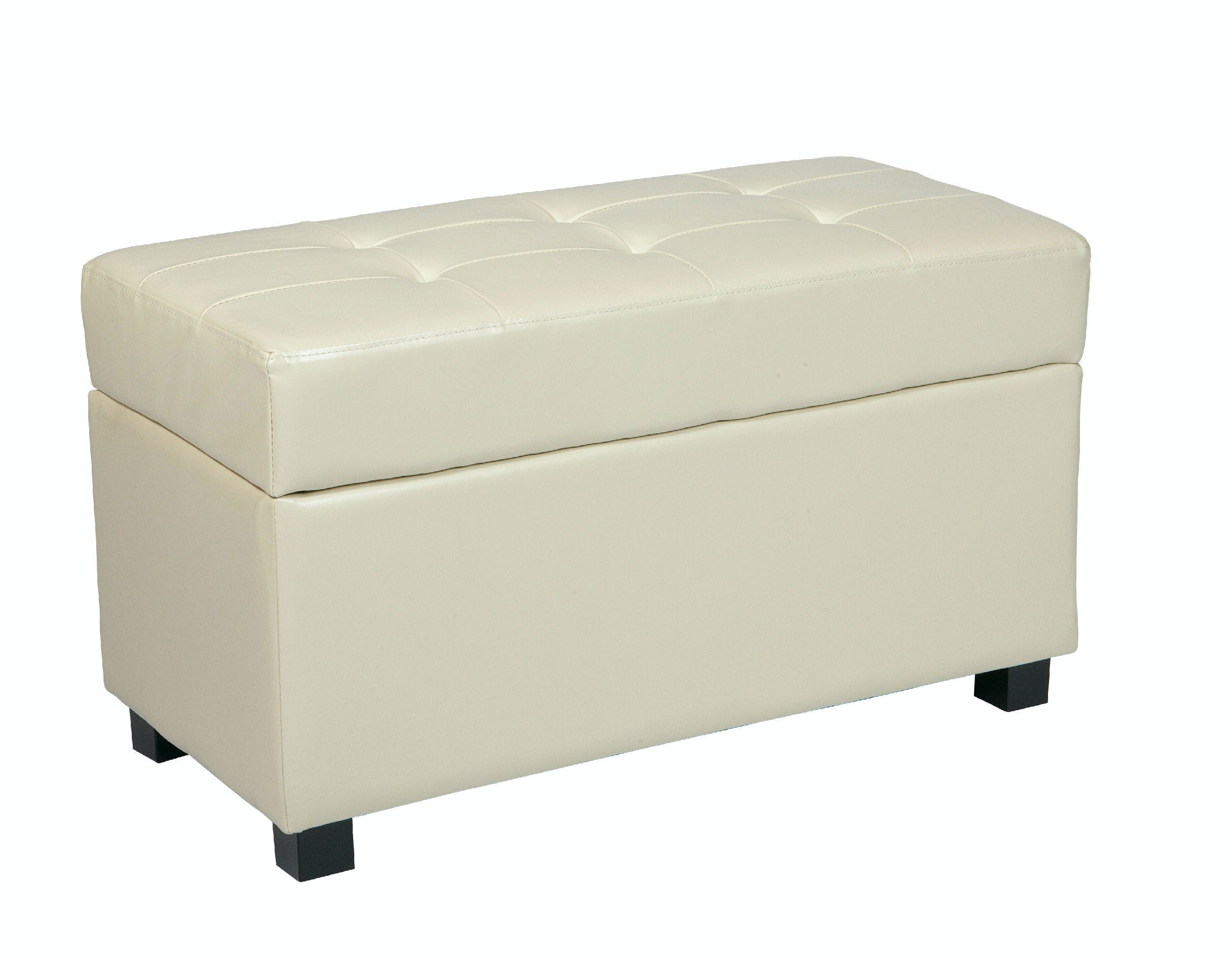 Office Star Products Living Room Cream Faux Leather Storage Ottoman Met804cm Hennen Furniture