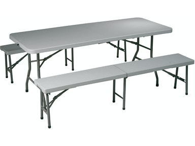 Office Star Products 3 Piece Folding Table And Bench Set QT3965
