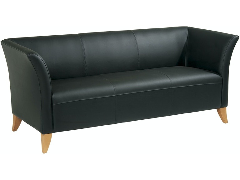 Office Star Products Living Room Black Leather Sofa Sl1513