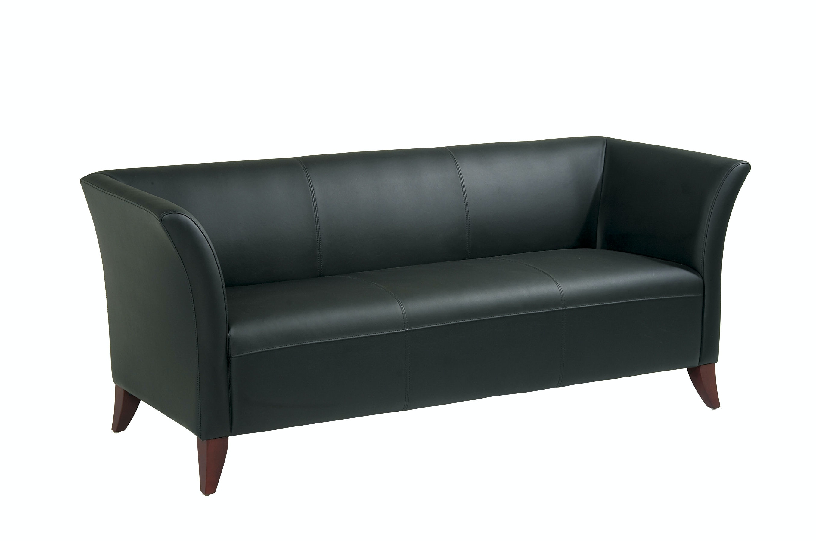 Office Star Products Living Room Black Leather Sofa Sl1573 Rice