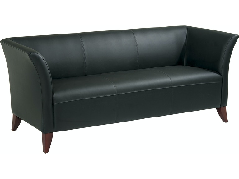 Office Star Products Living Room Black Leather Sofa SL1573 ...