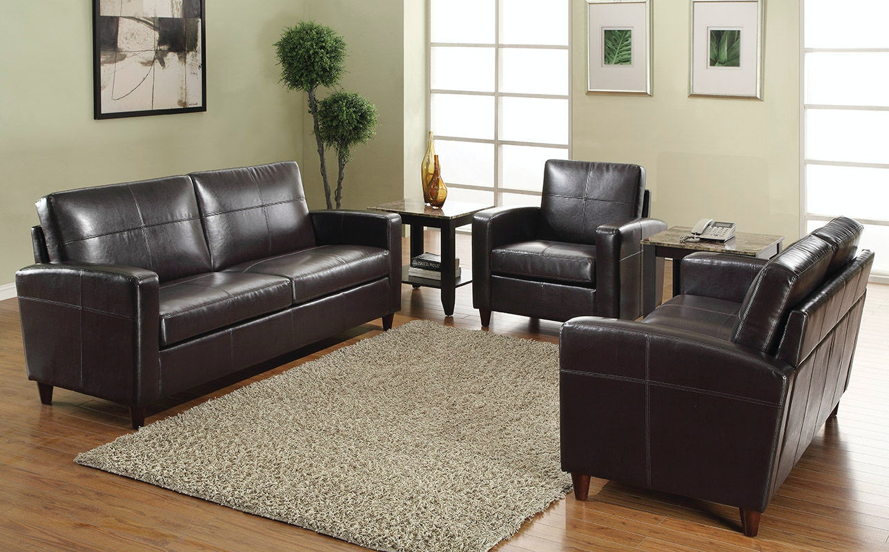 Office Star Products Espresso Eco Leather Sofa SL2813 EC1