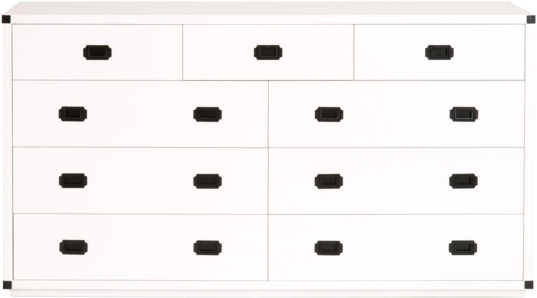 Essentials For Living Bedroom Bradley 9 Drawer Media Dresser 6133 Wht Blk Setting The Space