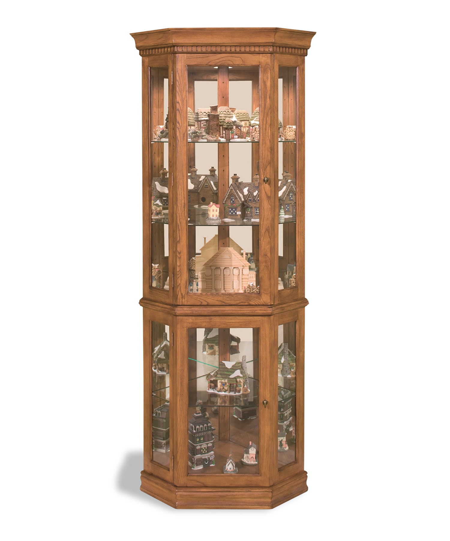 Philip Reinisch Classic Oak Corner Curio Cabinet 45951