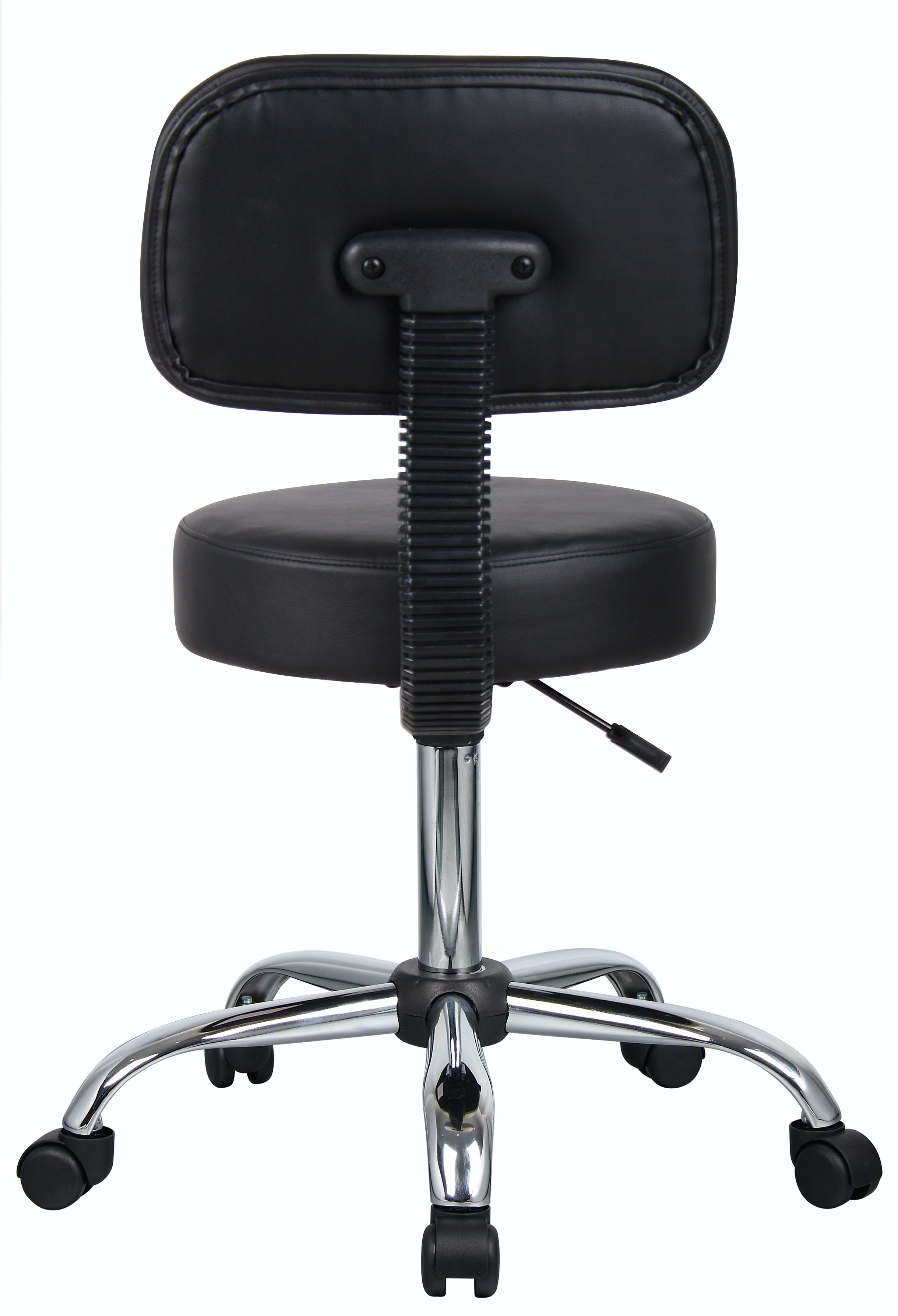 Boss Office Products Be Well Medical Spa Professional Adjustable Drafting Stool with Back and Removable Foot Rest Black