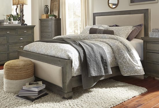 P600 34. Willow Upholstered Bed Distressed Grey