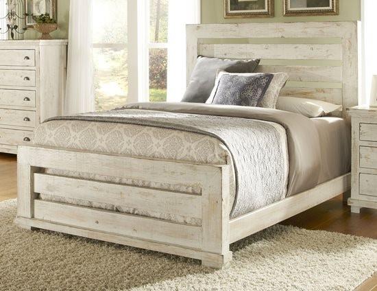 Perfect Progressive Furniture Willow Slat Headboard U0026 Footboard In Distressed White  (QUEEN) P610 60