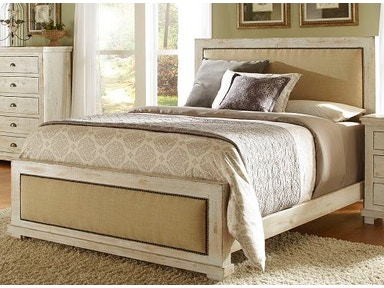 Progressive Furniture Willow Upholstered Headboard &Footboard in Distressed White (QUEEN) P610-34