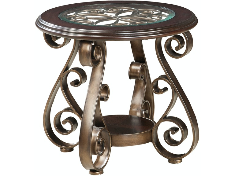 Standard Furniture Living Room Round End Table With Glass 21602 Furniture Kingdom Gainesville