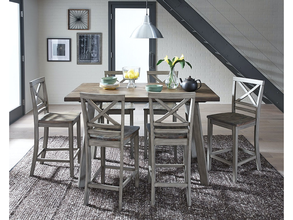 Standard Furniture Dining Room Fairhaven Dining Table And Four Chairs Set Distressed Reclaimed Oak