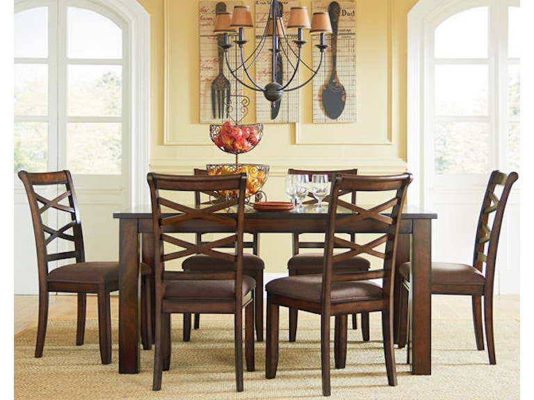 Redondo Dining Table And Six Chairs Set Cherry Brown