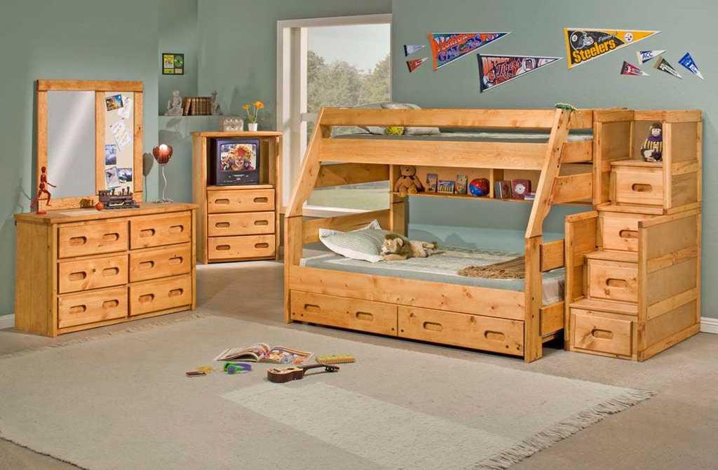 Trendwood Youth Bunkhouse Stairway Chest 4754 Sawmill