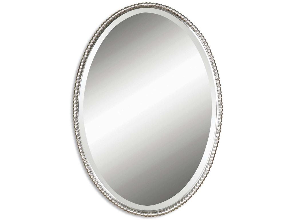uttermost bedroom sherise brushed nickel oval mirror 01102. Black Bedroom Furniture Sets. Home Design Ideas