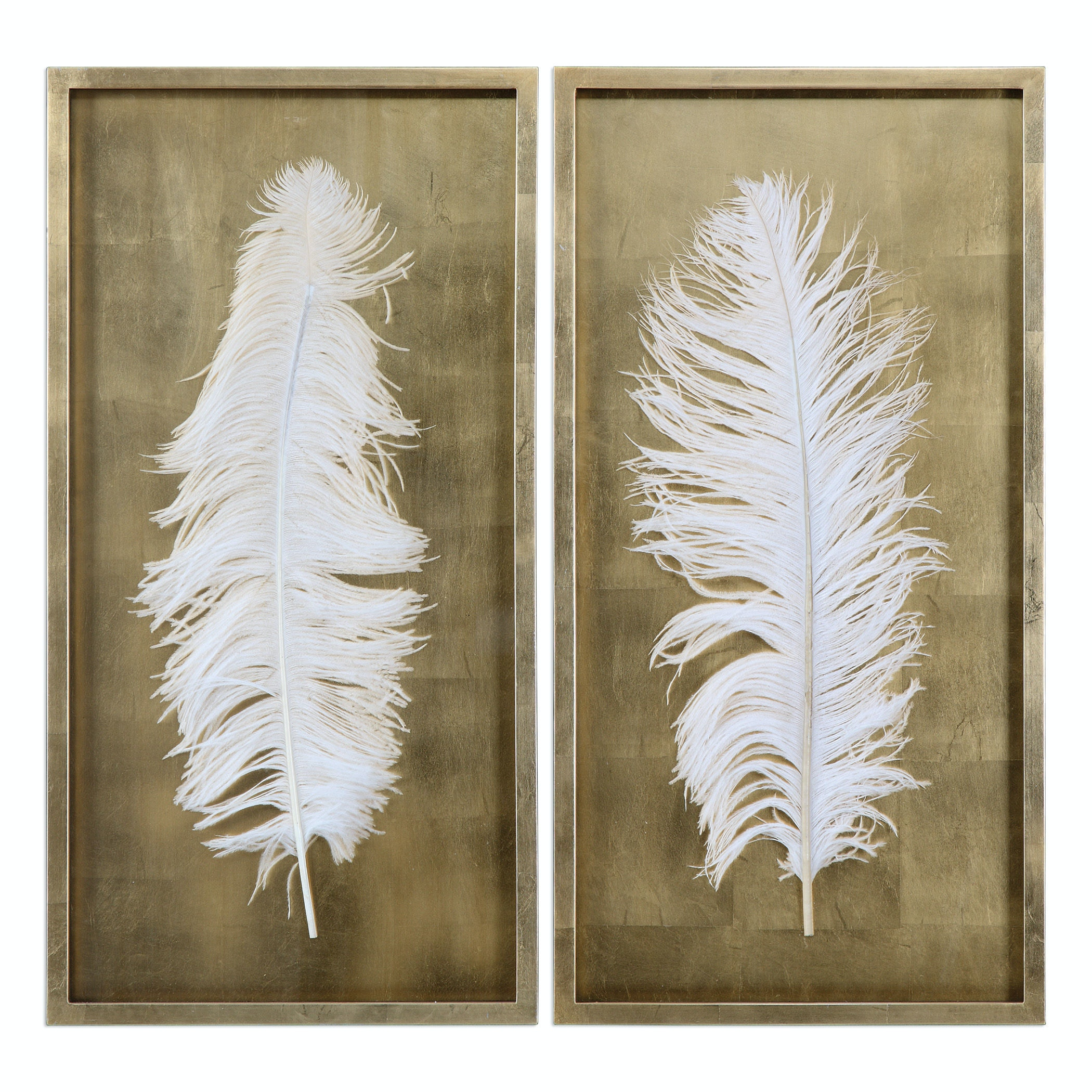 Uttermost White Feathers Gold Shadow Box S/2 04057