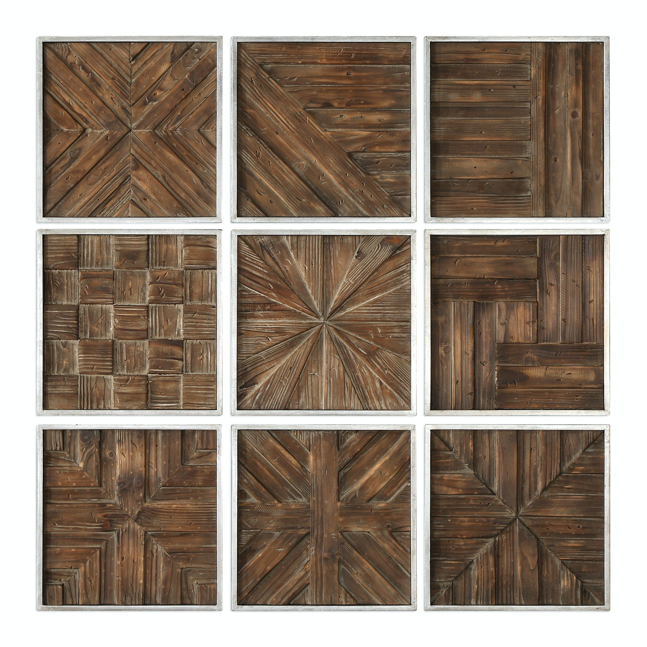 Charmant Uttermost Bryndle Rustic Wooden Squares S/9 04115