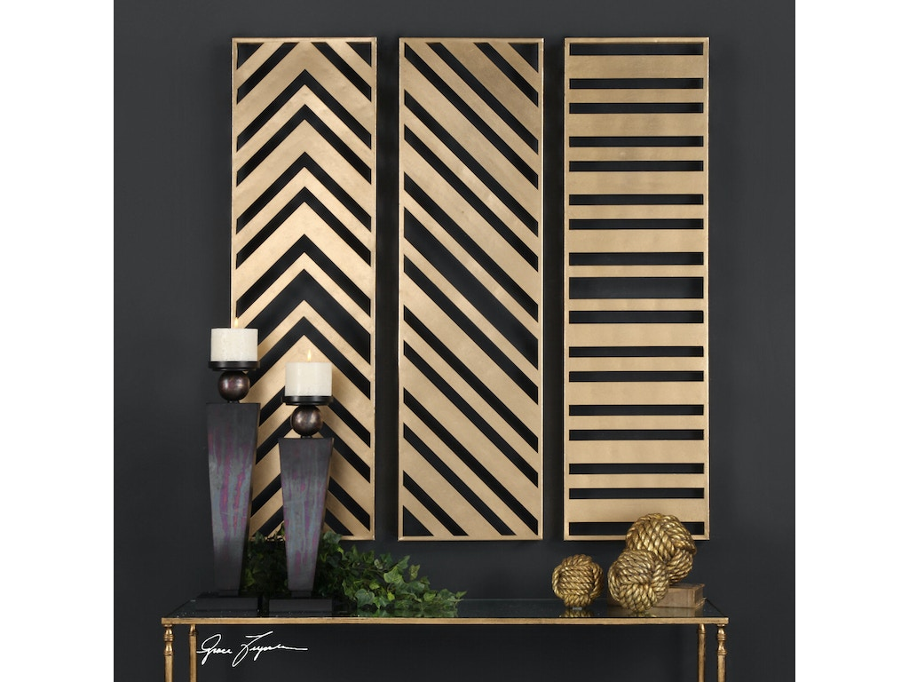 Uttermost accessories zahara gold panels set 3 04122 strobler home furnishings columbia sc - Home decor columbia sc set ...