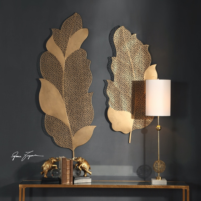 Uttermost Accessories Autumn Lace Leaf Wall Art, S/2 04154