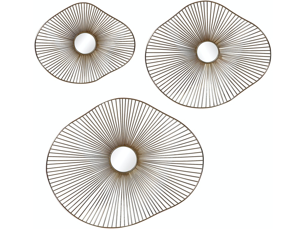 Uttermost Accessories Avarie Gold Metal Wall Art Set 3 Ut04182 Walter E Smithe Furniture Design