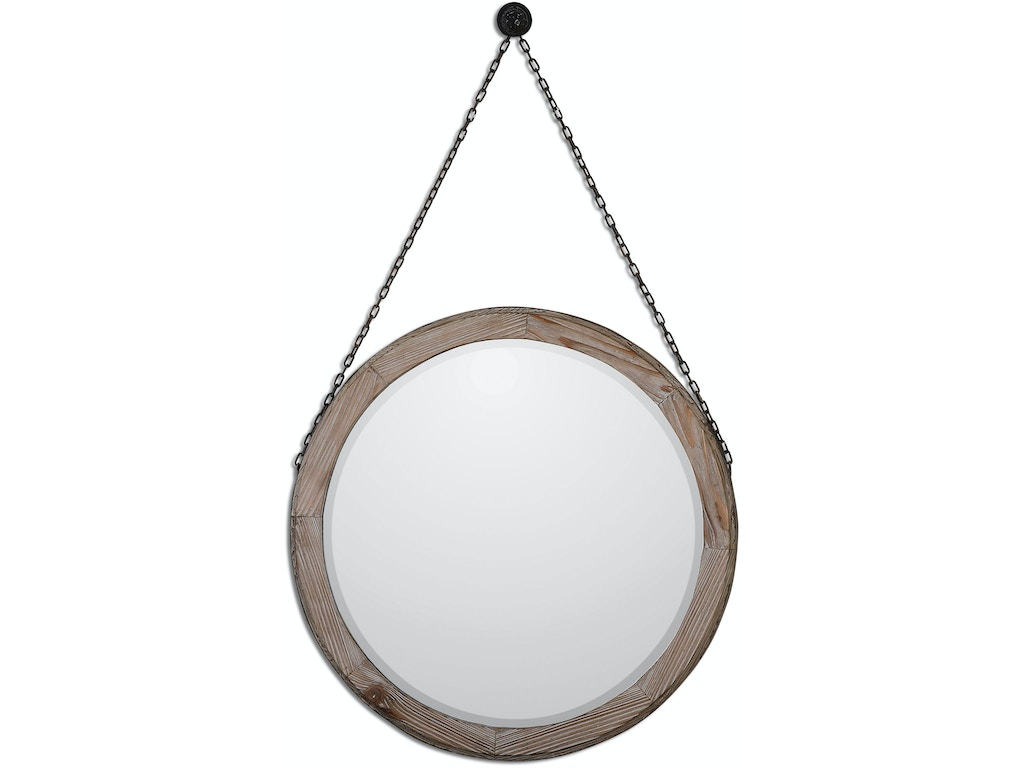 Uttermost bedroom loughlin round wood mirror 07656 for Mirror quality