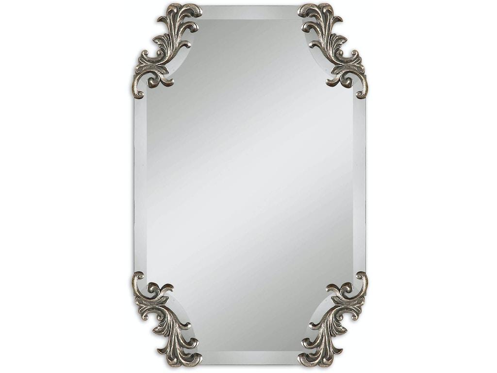 Uttermost bedroom andretta baroque silver mirror 08087 for Baroque mirror canada