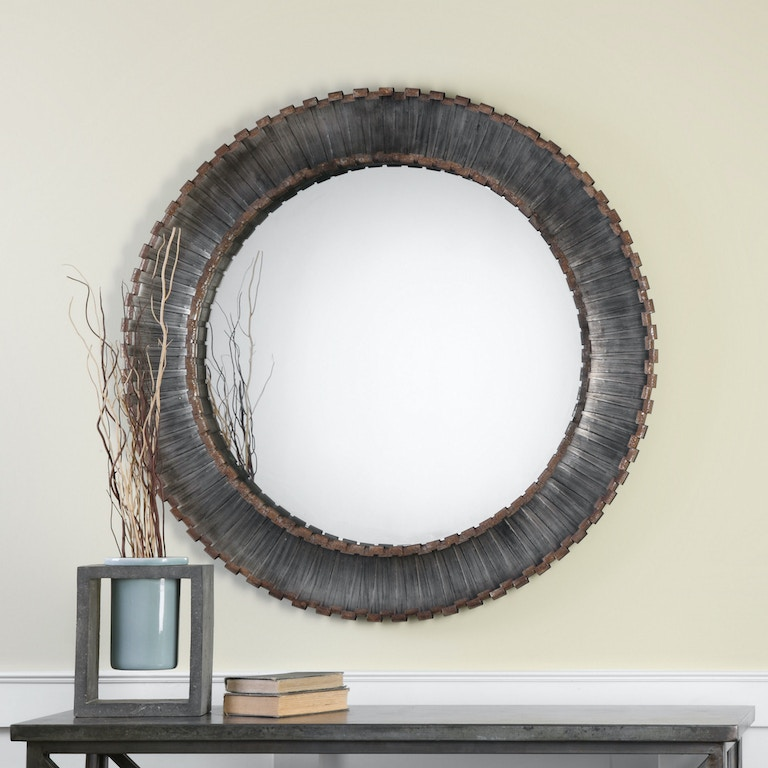 Uttermost bedroom tanaina silver round mirror 09175 for Round mirror canada