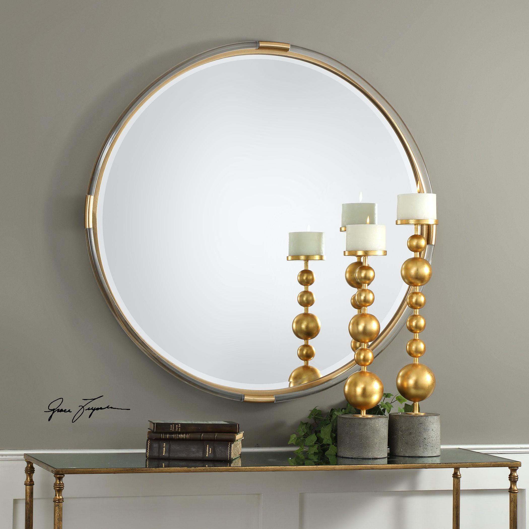 uttermost mackai round gold mirror 09333 uttermost accessories mackai round gold mirror 09333   carol house      rh   carolhouse