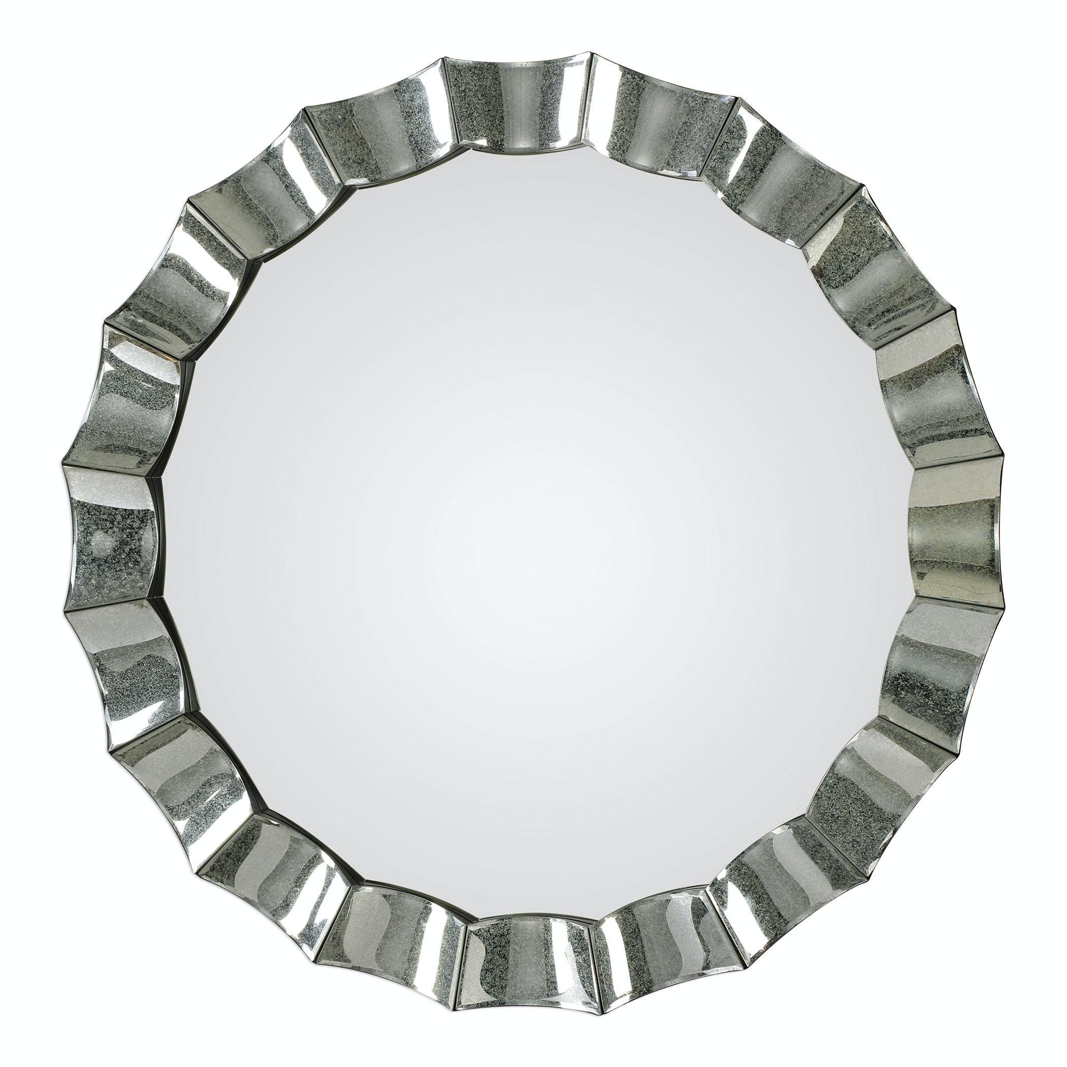 uttermost sabino scalloped round mirror 09334 uttermost accessories sabino scalloped round mirror  rh   bobmillsfurniture