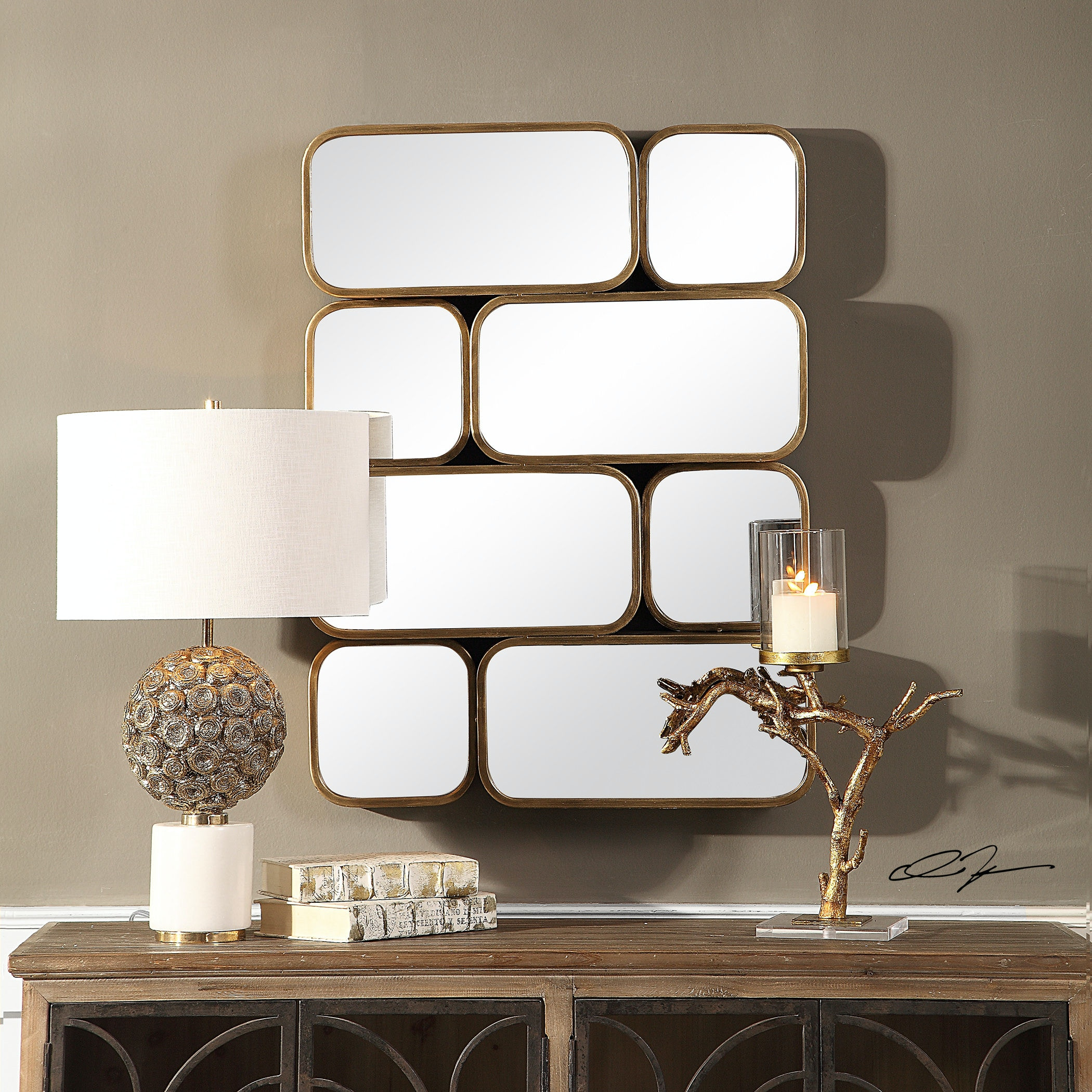 Uttermost Canute Modern Gold Mirror 09437 From Walter E. Smithe Furniture +  Design
