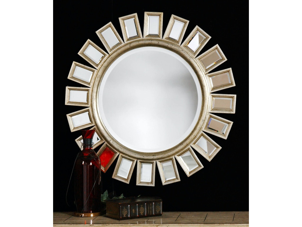 Uttermost Bedroom Cyrus Round Silver Mirror 14076 B The