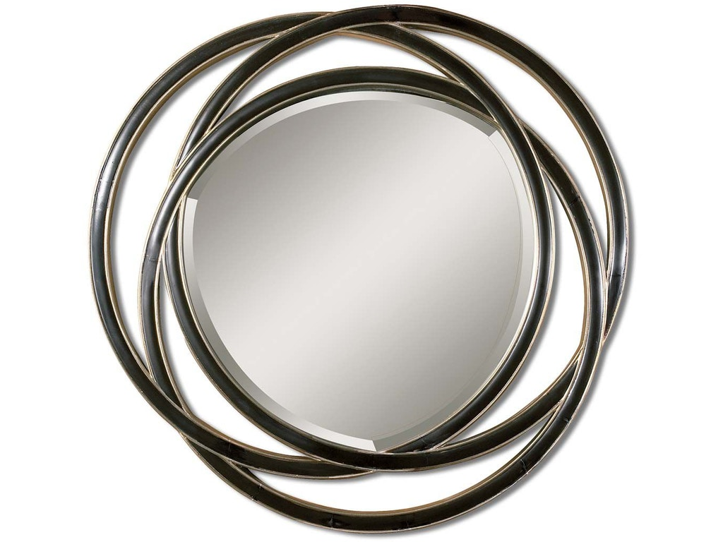 Odalis entwined circles black mirror ut14522b for Mirror black