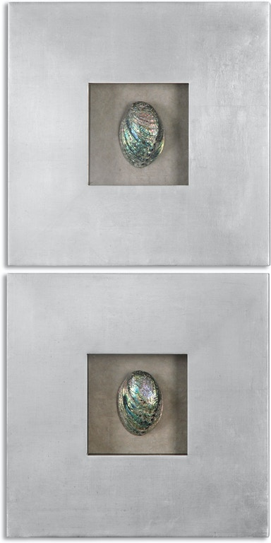 Uttermost Accessories Abalone Shells Silver Wall Art, S/2