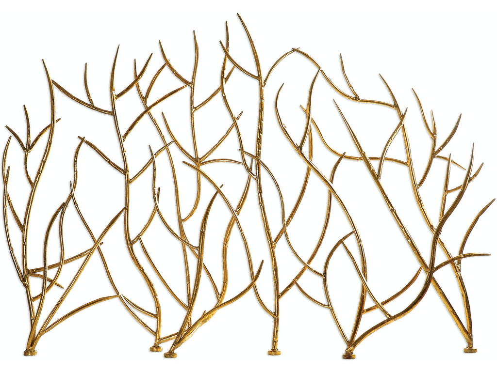 Marvelous Uttermost Dining Room Gold Branches Decorative Fireplace Screen Ut18796 Walter E Smithe Furniture Design Home Interior And Landscaping Ferensignezvosmurscom