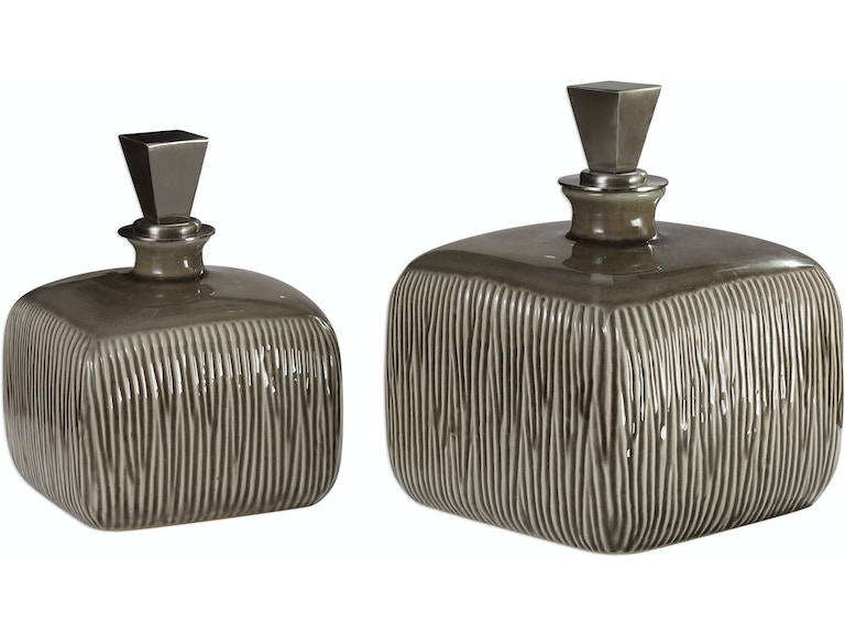 Uttermost Cayson Ribbed Ceramic Bottles S 2 Ut18938
