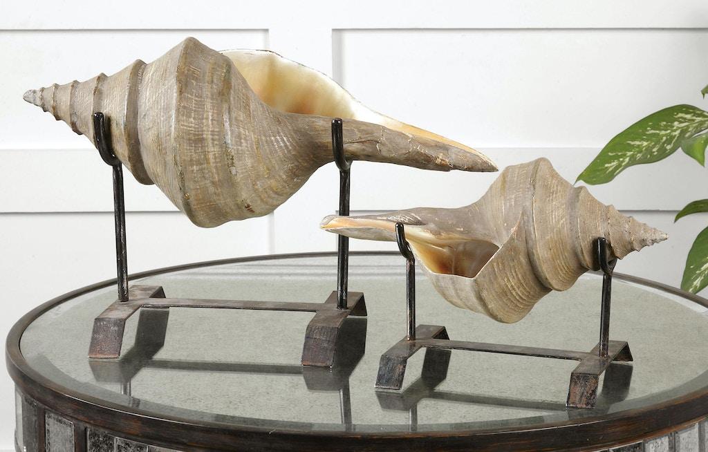 Uttermost Conch Shell Sculpture, Set/2 19556
