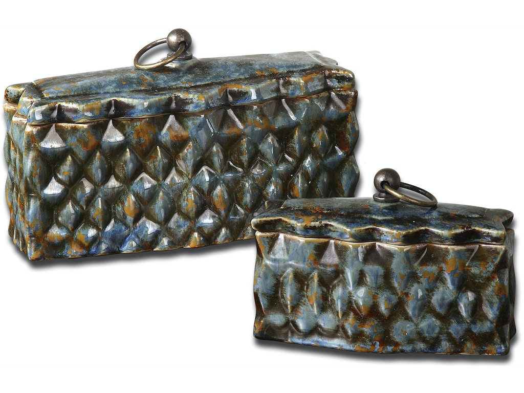 Uttermost accessories neelab ceramic containers set 2 19618 strobler home furnishings - Home decor columbia sc set ...