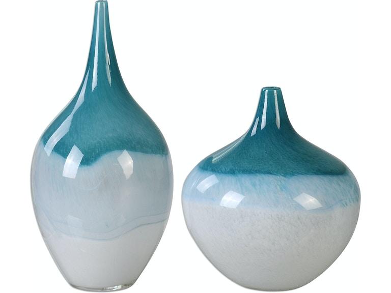 Uttermost Accessories Carla Teal White Vases S2 20084 Birmingham