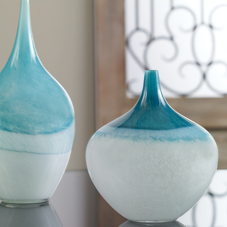 Uttermost Accessories Carla Teal White Vases S2 20084 Penny